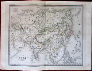 Asia Arabia India Siam China Japan C 1840 S Engraved Hand Color Old Map