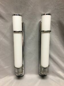 Vtg Pair Chrome Brass Sconce Cylinder Milk Glass Shades Art Deco Light 154 18j
