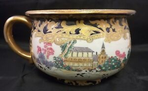 Chinese Antique Porcelain Landscape Pot With Handle And Mark