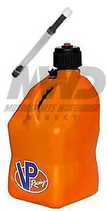 Vp Racing Orange 5 Gallon Square Fuel Jug deluxe Fill Hose water jerry Gas Can