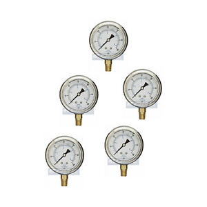 5 Pack Liquid Filled Pressure Gauge 0 60 Psi 2 5 Face 1 4 Npt Lower Mount