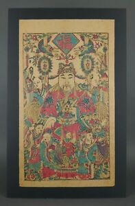 Vintage God Of Wealth Japanese Hand Colored Woodblock Print Art Blue Red