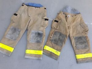 Two Pairs Of Firefighter Turnout Bunker Gear Pants Tan