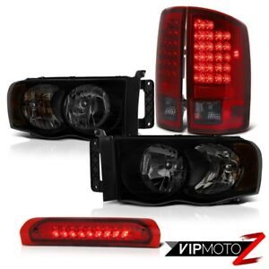 02 05 Dodge Ram 1500 2500 5 7l Headlamps Red Roof Brake Lamp Smoked Tail Lights