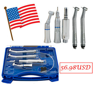 Us Stock High Low Speed Dental Handpiece Kit 4 Hole 4h Push Button Box Fit Nsk
