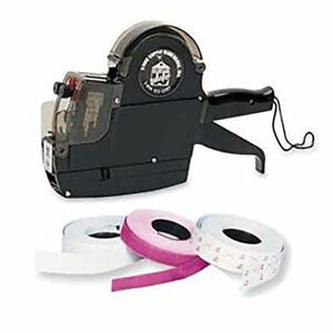 2 line Pricing Gun Labels Kit Line Labeler Price Plus 20 Rolls Self Aligning