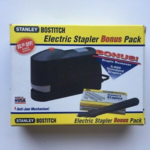 Stanley Bostitch Electric Stapler Anti jam 20 Sheet Capacity Black Free Staples