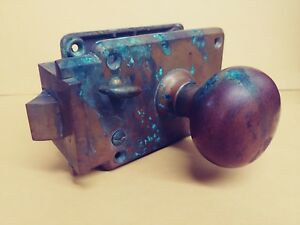 Antique Vintage Corbin Cast Brass Bronze Door Knob Set