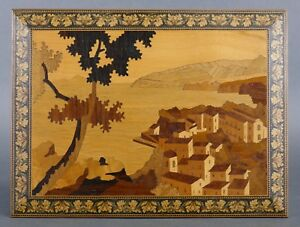 Vintage 1960s Italian Marquetry Inlaid Wood Sorrento Italy Wall Plaque Seascape