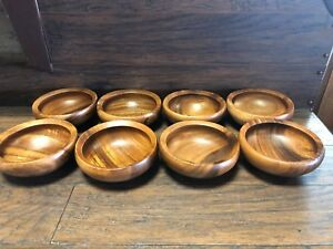 20369 Vintage Set Of 8 Mid Century Dansk Jhq Teak Salad Bowl Eight Mcm Bowls