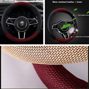 38cm Car Steering Wheel Cover Protector Black Red Pu Leather And Linen Fabric