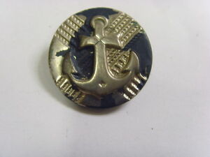 Antique Navy Sailor Anchor Picture Metal Large Unusual Button 28 5 Mm 48035