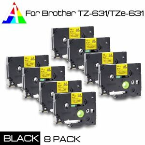 8x Tz 631 Label Maker Tape Black On Yellow For Brother Tze 631 P touch Us Stock