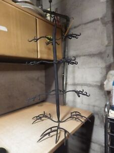 Antique Vintage Blacksmith Made Hanging Hall Tree Coat Hat Rack Pics 17x24