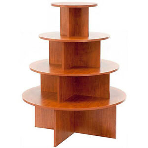 4 Tier Display Table Round Boutique Clothing Store Fixture Cherry Knockdown New