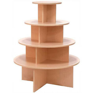 4 Tier Display Table Round Boutique Clothing Store Fixture Maple Knockdown New