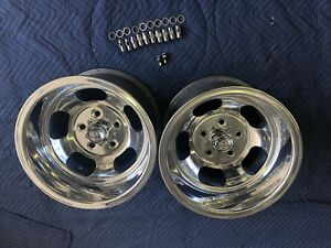 Vintage Pair 15x10 Real Us Indy Mag Polished 5on5 Chevy C 10 Truck Blazer Sub