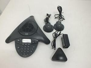 Cisco Cp 7936 Voip Conference Station Phone W Power Adapters External Mics