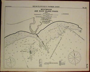 Westbrook Duck Island Roads Connecticut C 1901 Eldridge Nautical Chart Old Map
