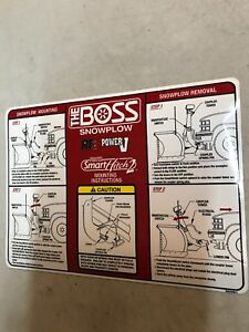 Boss Snow Plow Rt3 V Blade Decal For Mounting Instructions free Shipping