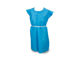 Mckesson Exam Gown 2x large Blue Without Cuff Adult Disposable 25 Count