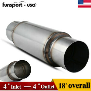 4 Inlet Outlet Overall 18 Inch High Performance Muffler Exhaust Resonator
