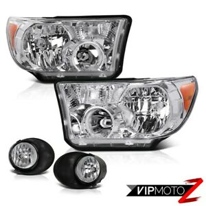 For 07 13 Toyota Tundra Crystal Clear L R Headlight Lamp Clear Fog Light Lamp
