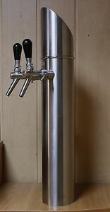Beer Tower Tap Faucet Draft Double Stainless Stee Kegerator Lights Logo Erdinger