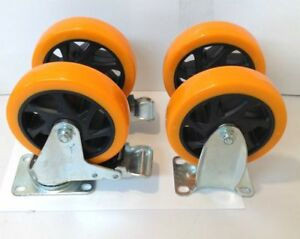 Lot Of 4 Heavy Duty 5 Inch Casters Wheels 2 Swivel Brake And 2 Fixed Plates