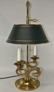 Chapman Brass Bouillotte Double Swan Table Lamp Hand Painted Tole Shade