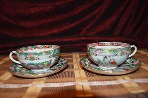 2 Vintage Asian Porcelain Rose Medallion Cup And Saucer Marked