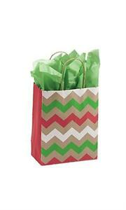 100 Paper Bags Holiday Christmas Chevron Shopping 8 X 5 X 10 Retail Gift Kraft