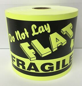 4 x6 Yellow Do Not Lay Flat Fragile Shipping Warning Labels 250 roll