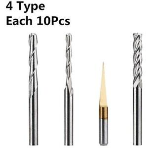Hqmaster End Mill Combination Kit Set Cnc Router Bits Cutter Milling Tools 40pcs