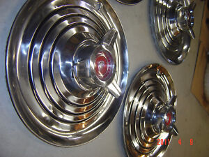 63 64 Mercury Marauder 15 Spinner Wheel Covers Hubcap Red Polished Show 406 427