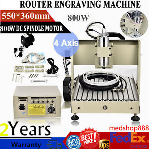 4 Axis 3040 Cnc Router Engraver Engraving Cutter Ballscrew Metalworking Machine