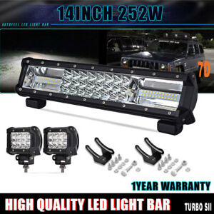 14 252w Led Light Bar Flood Combo Work Foglamp Offroad Truck Tractor Trailer