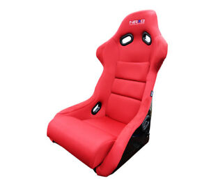 Nrg Large Frp Fiber Glass Bucket Seat Red Microsuede Cloth Part Frp 300rd