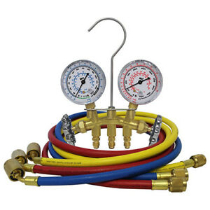 Mastercool 35636 Brass Manifold Gauge Set W 3 36 Hoses