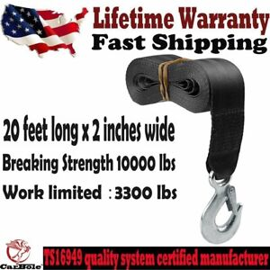 New Trailer Winch Replacement Strap 2 X 20 10000 Lbs Safety Hook For Boat Us