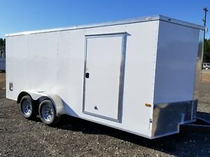 Enclosed Cargo Trailer 7x14 7 X 14 Ta In Stock Ramp V nose Motorcycle 12 16