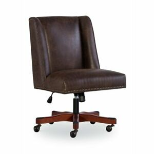Linon Draper Wood Upholstered Office Chair In Brown