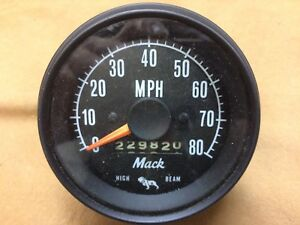 Vintage Mack Truck Factory Speedometer And Odometer High Beam Indicator Light