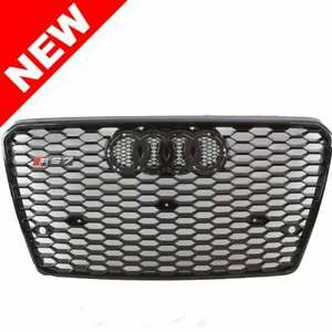 2012 2015 Audi A7 s7 Rs7 Style Front Hex Mesh Grille Gloss Black Badgeless