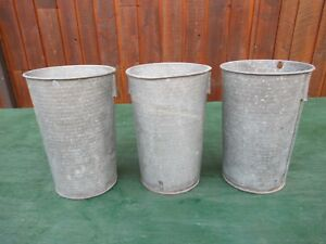 Antique 3 Maple Syrup Old Tin Sap Pail Buckets Planters 12 High