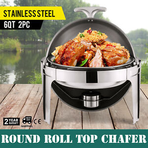 2 Pack Round Stainless Steel Chafing Dish Chafer Pan Half 6qt