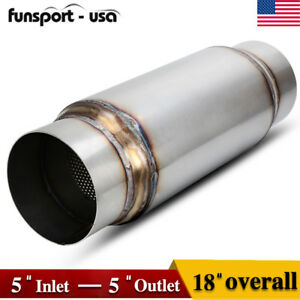 5 Inlet Outlet High Performance Exhaust Muffler Resonator 18 Inch Overall