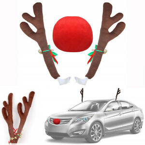 Reindeer Antlers Red Nose Kit For Car Christmas Festive Atmosphere Decoration
