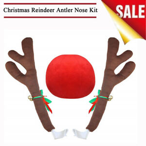 Vehicle Car Christmas Cute Decorations Reindeer Antler Nose Kit With Jingle Bell