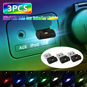 3x Mini Usb Rgb Led Car Interior Light Touch Key Neon Atmosphere Ambient Lamps